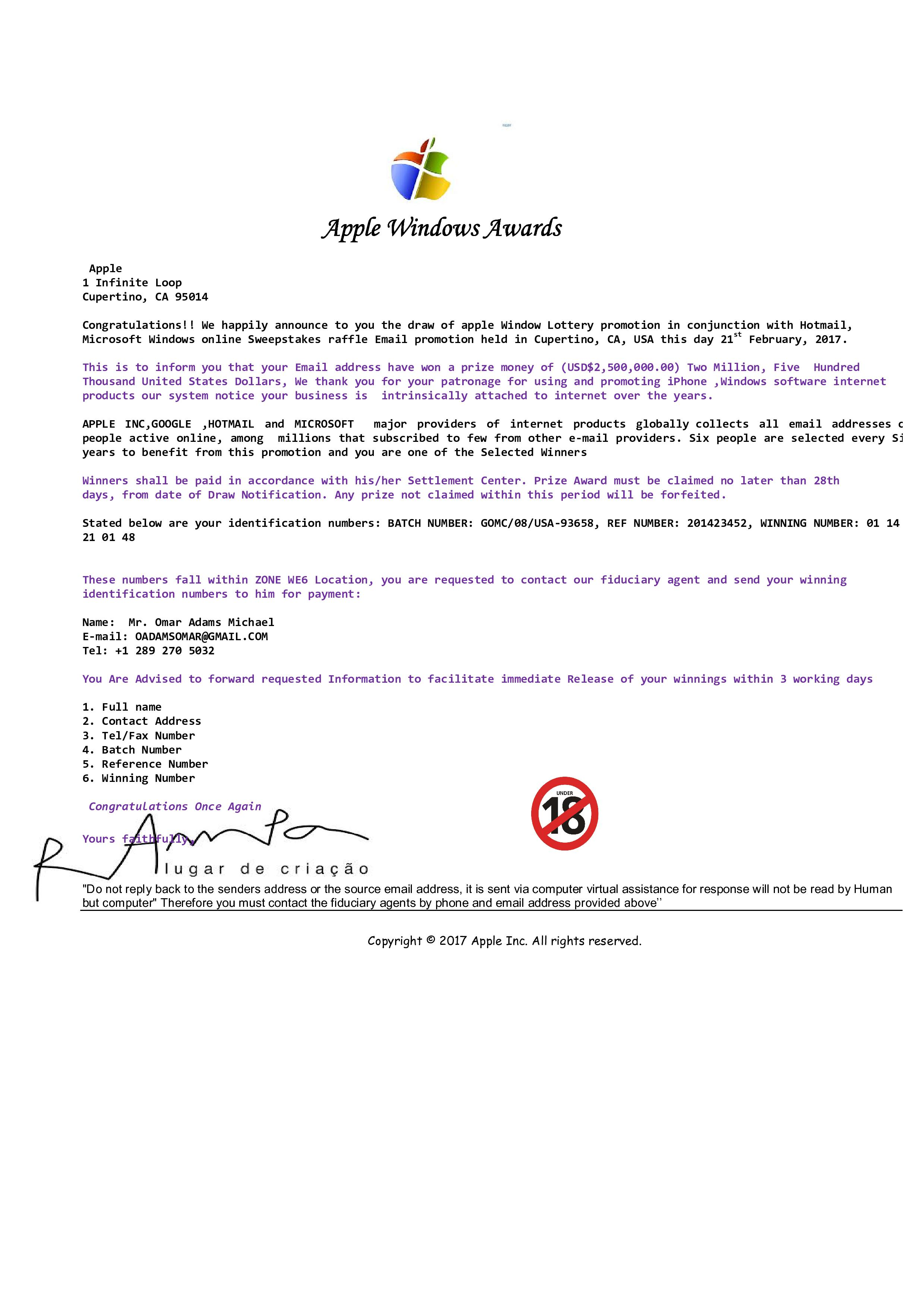Scam Email: Copyright © 2017 Apple Inc  All rights reserved _0001