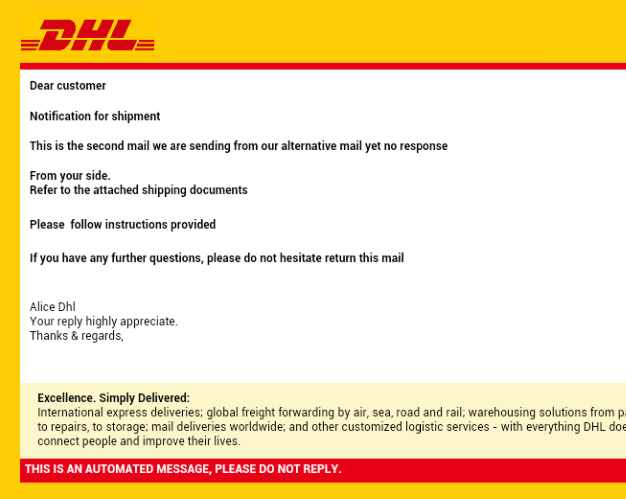 Scam Email: DHL Shipment Notification from DHL Express | Scamdex